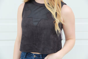 Steven Suede Sleeveless Top