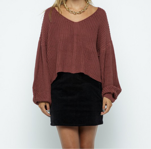 Open Back Crop Sweater