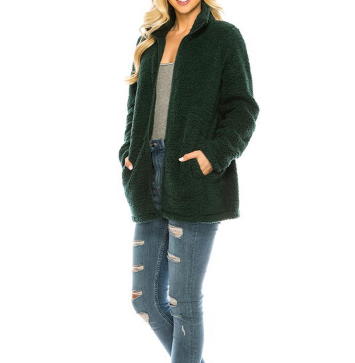 Emerald Zip Up Sherpa