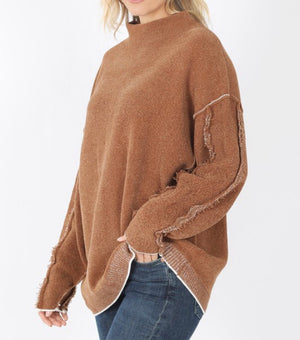 Raw Hem Camel Sweater