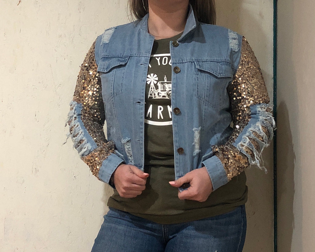 Ella Sequin Jean Jacket