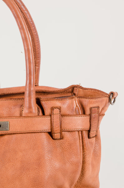 KELLY - Leather Handbag - Tan