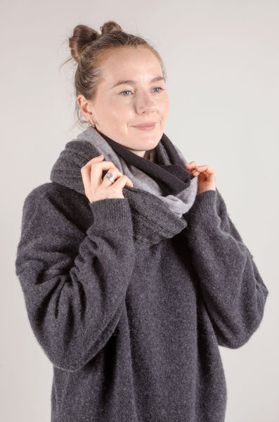 CASHMERE - Mix Section Scarf - Grey