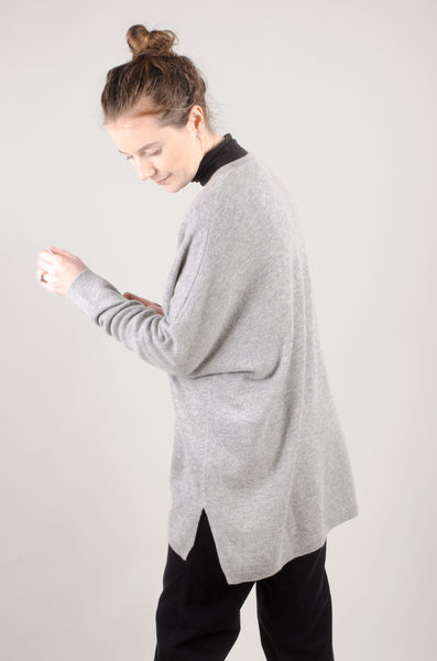 CASHMERE - V Neck Jumper - Pale Grey