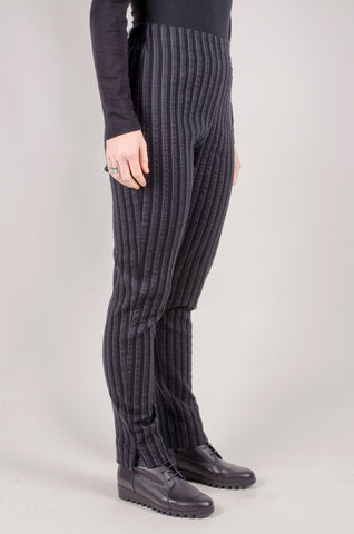 CREA CONCEPT - Striped Straight Leg Trousers- Grey/Black
