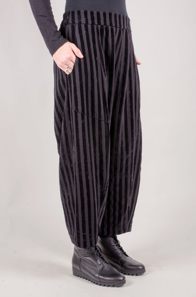 CREA CONCEPT - Velvet Striped Trousers