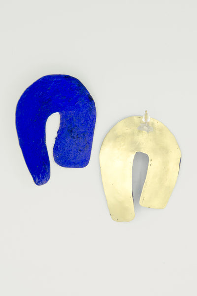 Hand-painted Curved Earrings - Blue