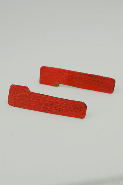 Hand-painted Straight Earrings - Red