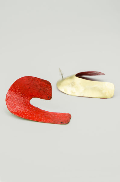 Hand-painted Curved Earrings - Red