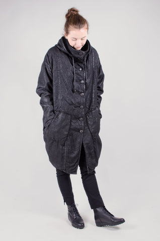 LURDES BERGADA - Coated Cotton Coat - Black