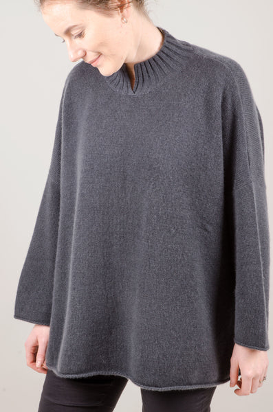 CASHMERE - Split Neck - Steel Grey Blue