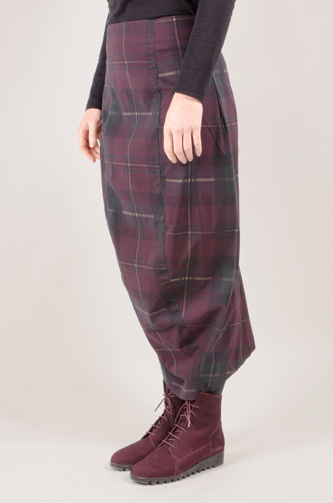 RUNDHOLZ - Merlot Check Skirt