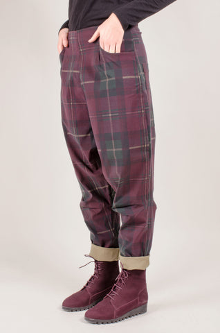 RUNDHOLZ- Check Trousers - Merlot