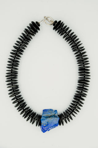 Lapis Lazuli Rock Necklace with coconut discs