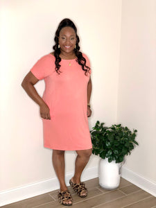 Plain Jane Dress (Coral)