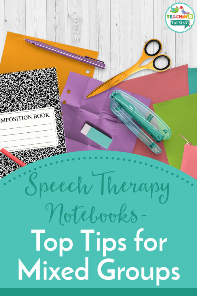 Speech therapy notebooks with mixed groups