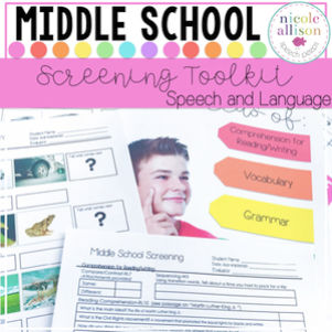 Middle School Speech Therapy Activities - Brought to you by Nicole Allison