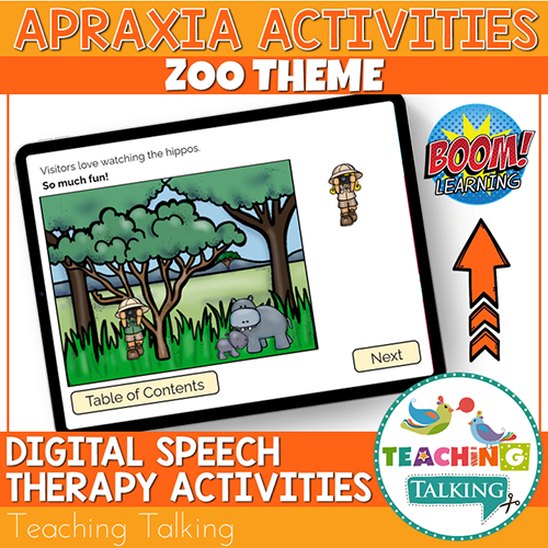 Teaching Talking BOOM Cards BOOM Cards - Zoo Theme Apraxia Activities