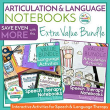 Load image into Gallery viewer, Teaching Talking Printable Articulation and Language Bundles for Interactive Notebooks