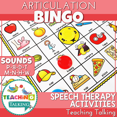 Teaching Talking Printable Articulation BINGO for P, B, T, D, M, N, H, W