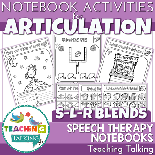 Teaching Talking Printable Articulation Notebooks for S-L-R-Blends and Clusters