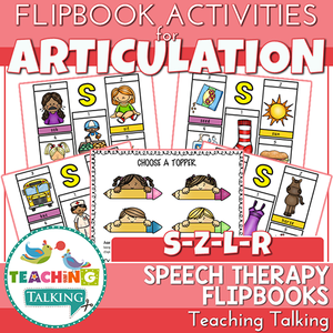 "Teaching Talking Printable Articulation ""Take Home"" Flip Books - S, Z, L & R"