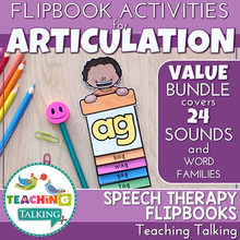 "Load image into Gallery viewer, Teaching Talking Printable Articulation ""Take Home"" Flip Books Value Bundle"