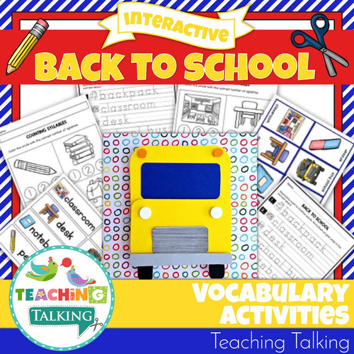 Teaching Talking Printable Back to School Vocabulary Activities