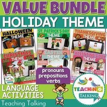 Load image into Gallery viewer, Teaching Talking Printable Holidays Value Bundle of Preschool Language Activities for Speech Therapy