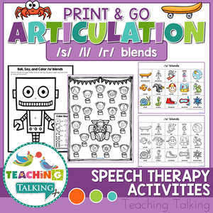 Teaching Talking Printable Print and Go Articulation Activities for Blends S, L, R
