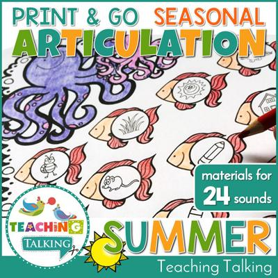 Teaching Talking Printable Print and Go Articulation Activities for Summer