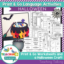Load image into Gallery viewer, Teaching Talking Printable Print & Go Language Activity Worksheets for Halloween