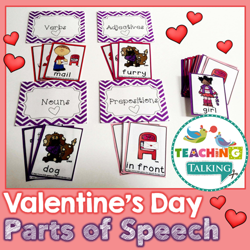 Teaching Talking Printable Valentine's Day Parts of Speech Card Game