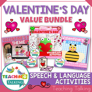 Teaching Talking Printable Valentine's Day Speech Therapy Activities Value Bundle