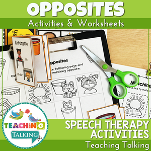 Teaching Talking Printable Worksheets, Game and Cards for Antonyms