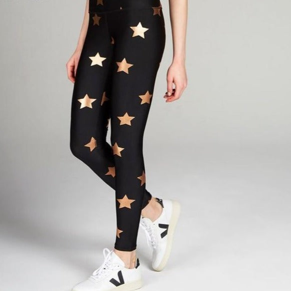 Black Rose Gold Stars Womens Leggings