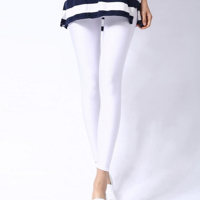 White Shiny Womens Leggings