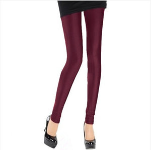 Burgundy Shiny Womens Leggings