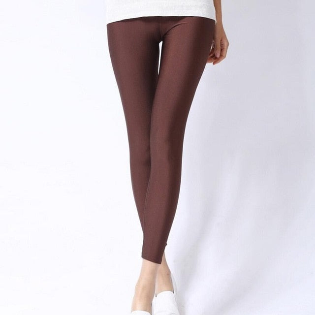 Coffee Shiny Womens Leggings