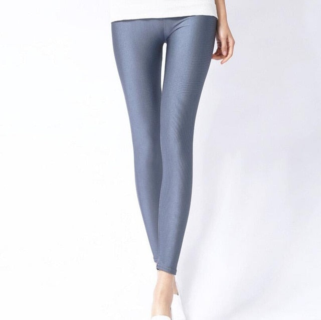 Dark Gray Shiny Womens Leggings