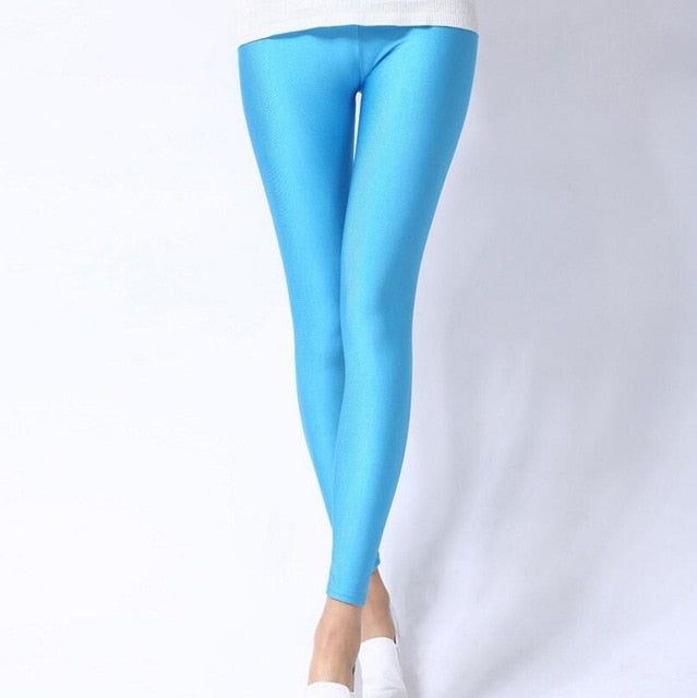 Sky Blue Shiny Womens Leggings