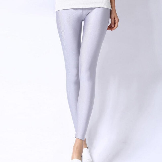 Light Gray Shiny Womens Leggings
