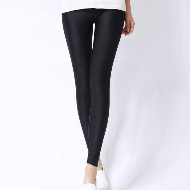 Black Shiny Womens Leggings