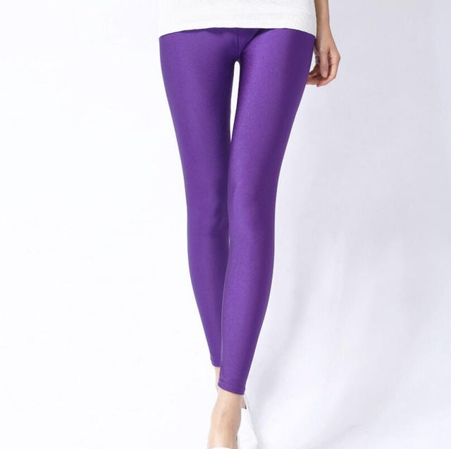 Purple Shiny Womens Leggings