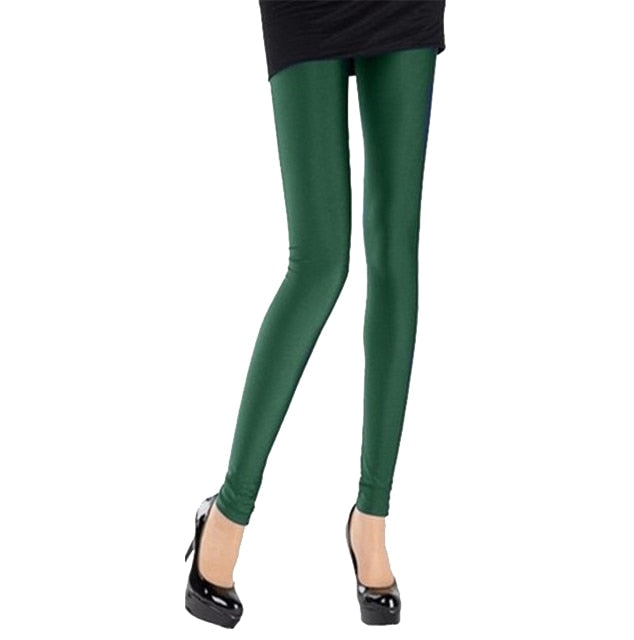 Dark Green Shiny Womens Leggings