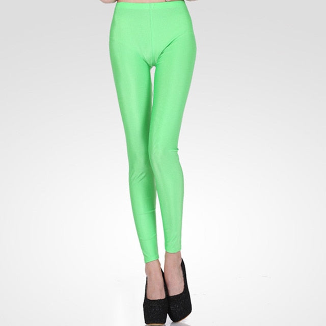 Light Green Shiny Womens Leggings