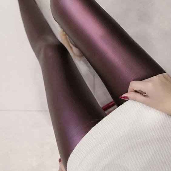 Purple faux leather fleece lined leggings