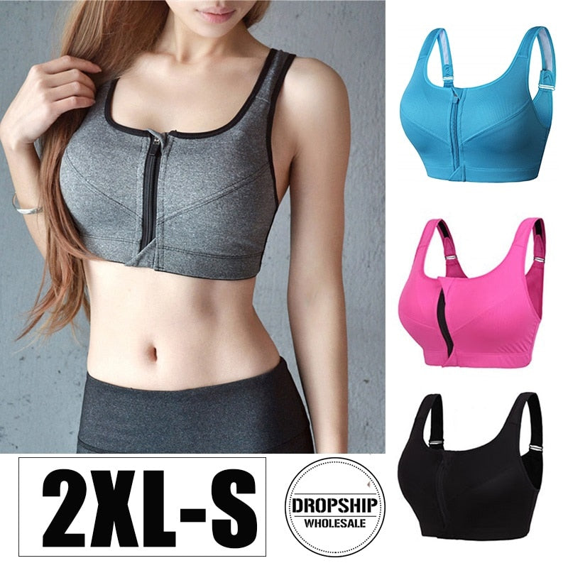 Front Zipper Yoga Sports Bra - Shoppersy.com