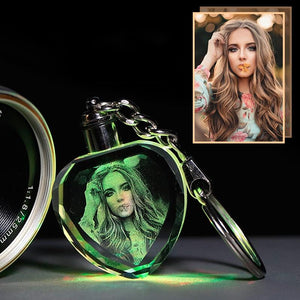 Custom Gift of Laser Engraved Crystal Glass Key Chain with Color Changing Led Lights - Shoppersy.com