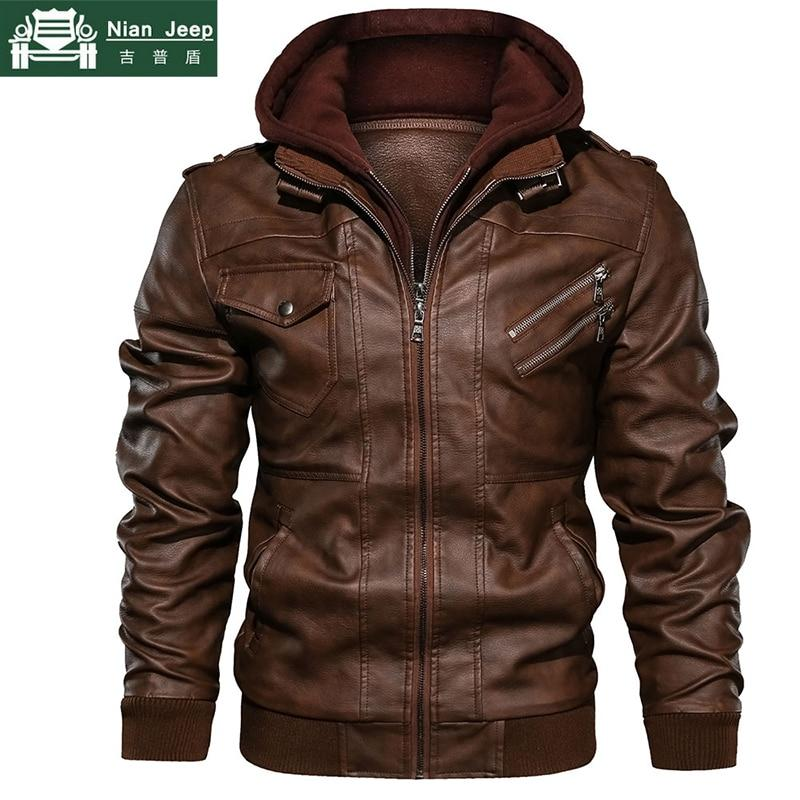 Autumn Winter Motorcycle Leather Jacket Men - Shoppersy